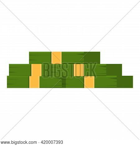 Bank Cash Stack Icon. Cartoon Of Bank Cash Stack Vector Icon For Web Design Isolated On White Backgr