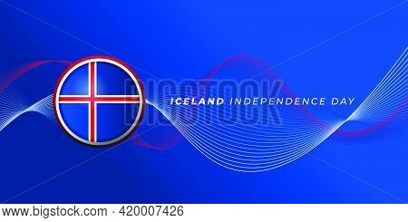 Iceland Independence Day Design With Iceland Emblem And Blue Background Design. Good Template For Ic
