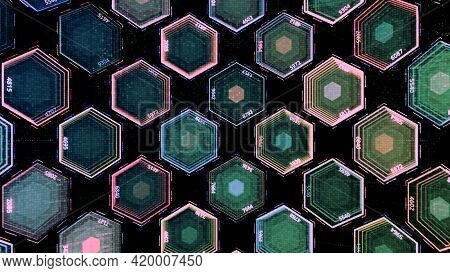 Slowly Blinking Hexagon Figures Of Blue And Green Colors, Seamless Loop. Animation. Transparent Shap