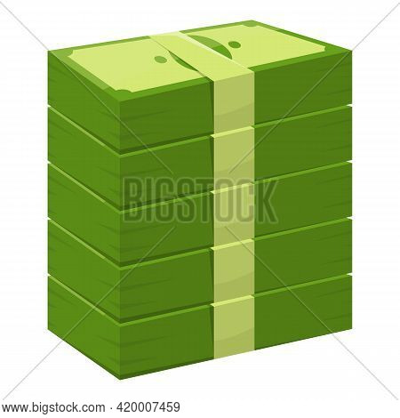 Bank Cash Pile Icon. Cartoon Of Bank Cash Pile Vector Icon For Web Design Isolated On White Backgrou