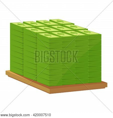 Bank Cash Wood Pallet Icon. Cartoon Of Bank Cash Wood Pallet Vector Icon For Web Design Isolated On