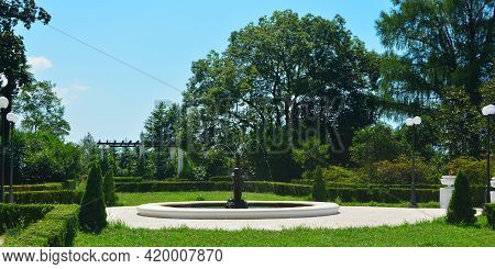 Sochi, Russian Federation - July 22, 2020: Fountain In The Southern Culture Arboretum Park.