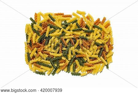 Multi Colored Curly Pasta Noodles Tomato Spinach Regular Flavored Gourmet Exotic Organic Food On A C