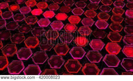 Abstract Dark Blue Hexagons, Random Motion Background. Animation. Neon Colored Geometric Shapes Crea