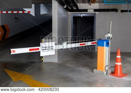 Car Park Barrier, Automatic Entry System. Security System For Building Access - Barrier Gate Stop Wi