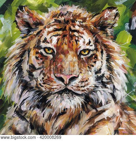 Bengal Tiger Muzzle Close-up. Acrylic Painting Card For Design And Print. Animal Hand Draw Contempor