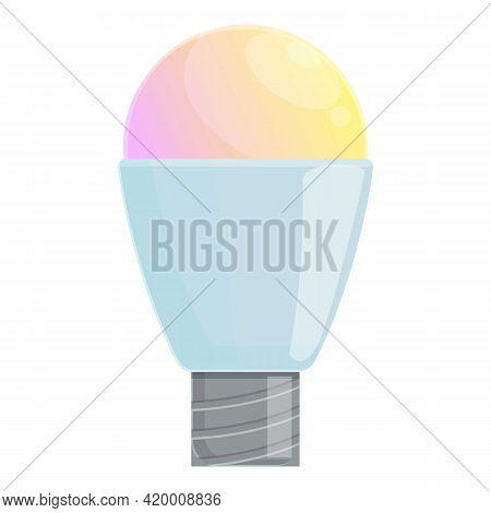 Smart Lightbulb Colorful Icon. Cartoon Of Smart Lightbulb Colorful Vector Icon For Web Design Isolat