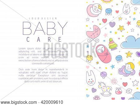 Cute Baby Care Poster Template With Copyspace Vector Illustration
