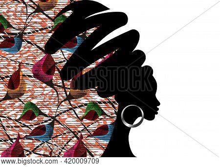 Banner Portrait African Woman In Traditional Turban Handmade Tribal Motif Wedding Flowers, Kente Hea