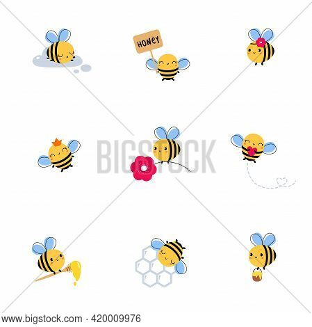Cute Honey Bee Set, Lovely Flying Insects Collection Honey And Flowers Cartoon Characters Vector Ill
