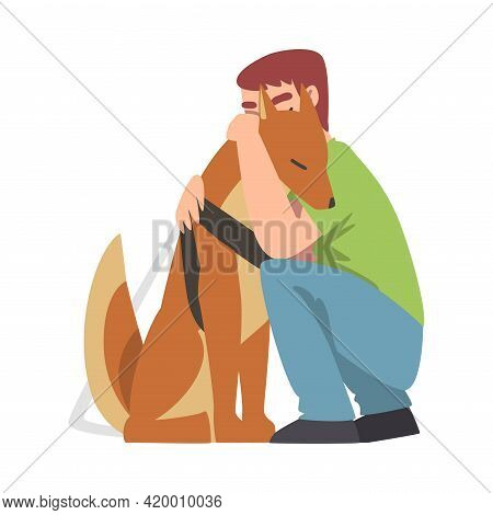 Blind Man Hugging His Seeing Eye Dog, Trained Animal Guiding Disabled Person, Rehabilitation, Handic