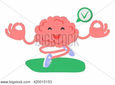 Calm Brain Meditation To Relax Balance Or Mental Wellness Tiny Person Concept. Organ Character With