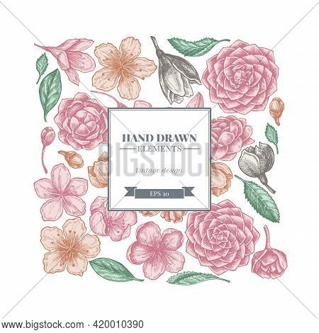 Square Floral Design With Pastel Hibiscus, Plum Flowers, Peach Flowers, Sakura Flowers, Magnolia Flo