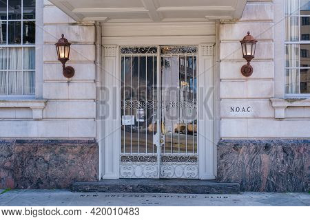New Orleans, La - January 14: Entrance To Historic New Orleans Athletic Club On Rampart Street On Ja