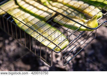 Grilled Green Zucchini. Outdoor Recreation, Vacation, Summer, Warmth, Sun. Healthy Eating