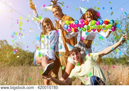 Happy Excited Friends Having Fun Outdoor Celebrating With Confetti - Young Millenial People Enjoying