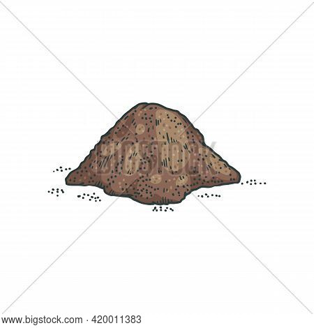 Heap Of Ground Black Pepper, Engraving Hand Drawn Vector Illustration Isolated.