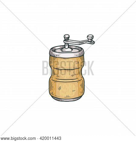 Grinder Or Pepper Mill With Handle Engraving Vector Illustration Isolated.