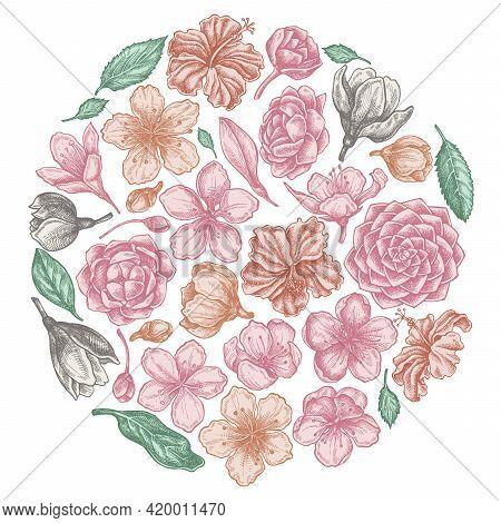 Round Floral Design With Pastel Hibiscus, Plum Flowers, Peach Flowers, Sakura Flowers, Magnolia Flow