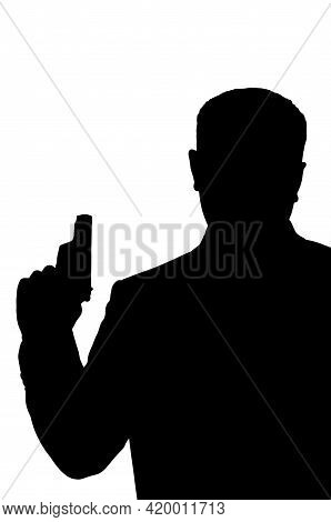 Silhouette Of Security Servive Bodyguard Holding Pistol In His Hand, 3d Illustration, 3d Rendering