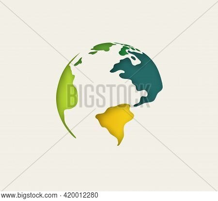 Planet Earth Vector Illustration In Papercut Style With Shadows.