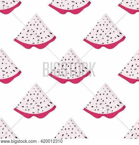 Seamless Pattern With Fresh Cut Slice Red Pitaya Fruits Isolated On White Background. Summer Fruits