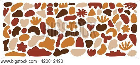 Organic Shapes Set, Vector Elements. Hand Drawn Abstract Forms, Terracotta Colors, Isolated On White