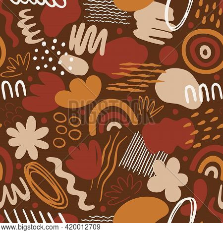 Seamless Pattern With Organic Shapes: Spots, Lines, Dots, Waves, Flowers, Rainbow. Abstract Vector I