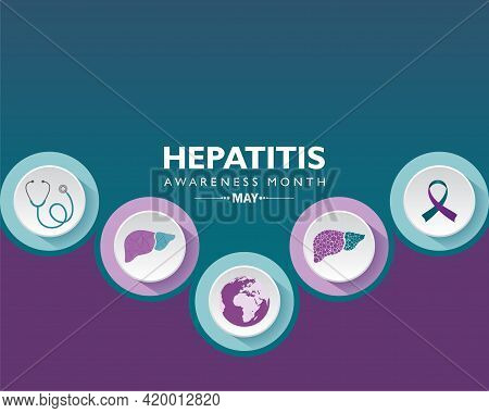 Vector Illustration Of Hepatitis Awareness Month Observed In May. The Liver Is A Vital Organ That Pr