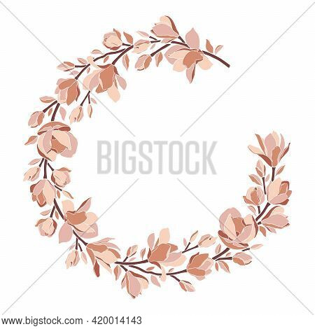 Floral Wreath, Frame With Magnolia Flowers, Branches, Leaves, Blooming Buds, Isolated On White. Vect