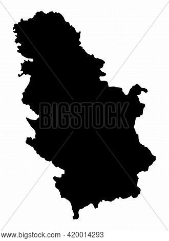 Serbia Dark Silhouette Map Isolated On White Background