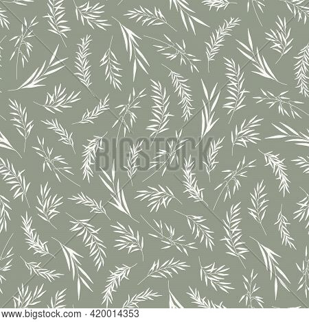Seamless Pattern With Leaves, Herbs. Silhouettes Of Branches, Natural Eco Friendly Background. Hand