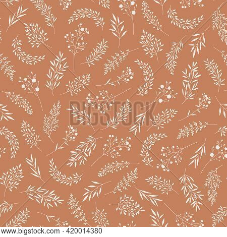 Seamless Pattern With Leaves, Herbs, Wildflowers. Silhouettes Of Branches, Natural Hand Drawn Eco Fr