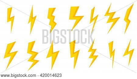 Lightning And Thunderstorm 3d Icons Set. Battery Charge Sign. Collection Of Yellow, Isolated Images