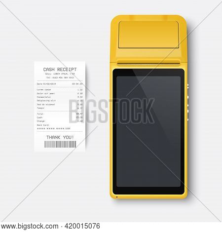 Vector Realistic Yellow 3d Payment Machine. Pos Terminal, Paper Receipt Closeup Isolated On White Ba