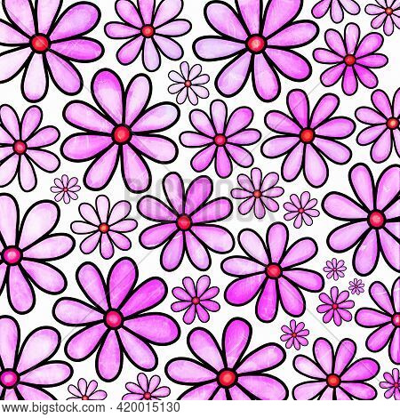 A Pretty Pink, Watercolor Style Daisy Flower Background Pattern.