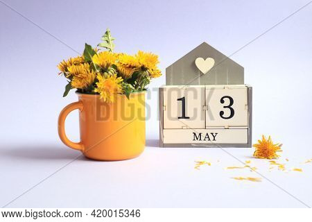 Calendar For May 13: Cubes With The Number 13, The Name Of The Month Of May In English, A Bouquet Of