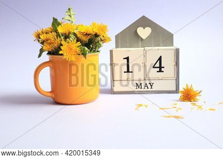 Calendar For May 14: Cubes With The Number 14, The Name Of The Month Of May In English, A Bouquet Of