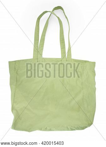 Cotton Cloth Bag Isolated On White Background. Front View Of Blank Shopping Sack With Copy Space. Cl