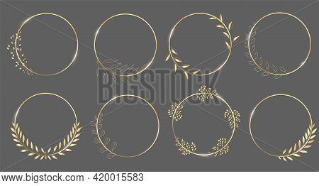 Set Of Round, Gold Laurel Wreaths. Vector Logo Design Made From Leaves. Vintage Collection Of Vintag