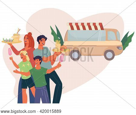 Street Food Or Farm Festival Fair With Food Truck And Happy Family. Family Buying Food On Culinary F