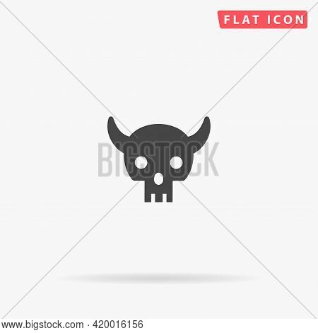 Demon Skull Flat Vector Icon. Hand Drawn Style Design Illustrations.