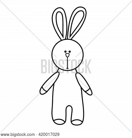 Doodle Fluffy Rabbit. Soft Toy. Decorate Easter, Birthday Cards, Book Pages. Kids Toy In Hand Drawin