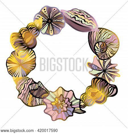 Decorative Isolated Colorful Elegant Illustration Design Vignette Of Lined Seashells