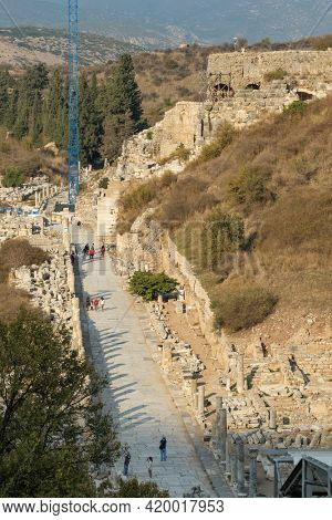Top view of the historic Marble street in Ephesus Ancient City near Selcuk, Turkey. Ancient and historical road from the roman period.