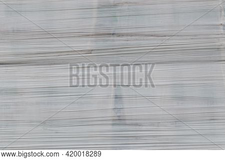 White Shrink Wrap Film With Horizontal Folds - Full Frame Background And Flat Texture