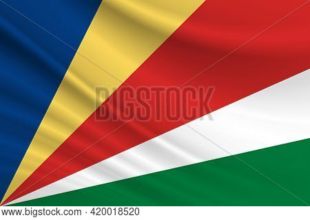 Flag Of Seychelles. Fabric Texture Of The Flag Of Seychelles.