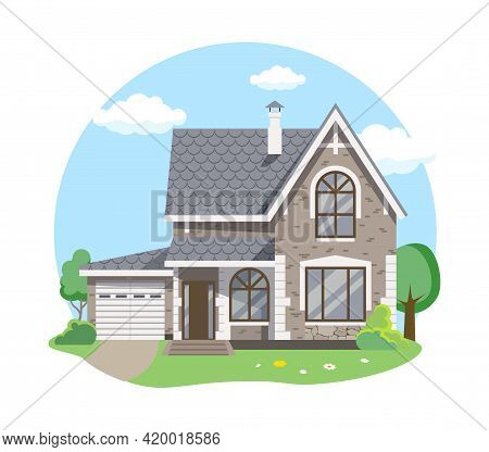Cartoon House Exterior With Blue Clouded Sky Front Home Architecture Concept Flat Design Style. Vect