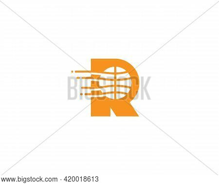 Abstract Letter R Logo Design Template. Dynamic Vector Unusual Line Font. Creative Earth, Speed, Del
