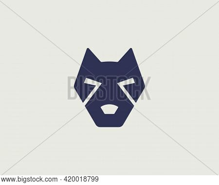Creative Dog Face Pet Icon Logo Vector Design Template. Minimal Style Staffordshire Terrier, Pit Bul